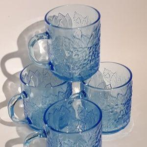 Vintage KIG Ice Blue Glass Mug Cup Set 4 Indonesia